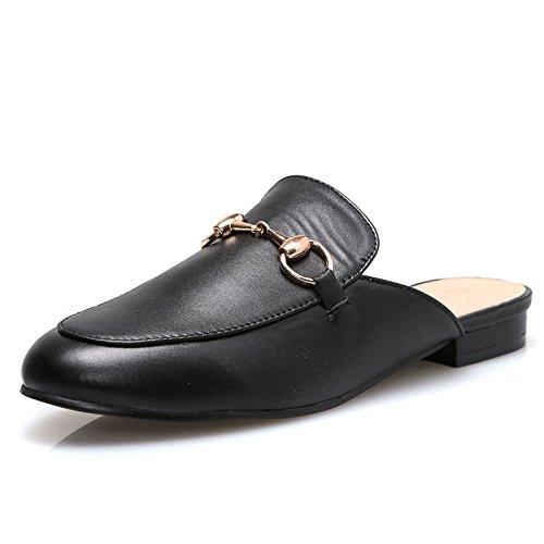 Mforshop scarpe donna mocassino ciabattina sabot slippers eco pelle staffa ciabatta 2314 - nero, 39