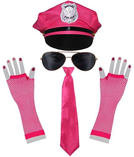 Bad Taste pinkes 80er Kostüm Set Junggesellenabschied Polizei Mütze Krawatte Sonnenbrille Netzhandschuhe