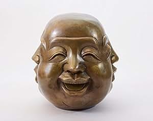 deko buddha kopf 4 gesichter figur skulptur statue aus bronze 15cm. Black Bedroom Furniture Sets. Home Design Ideas