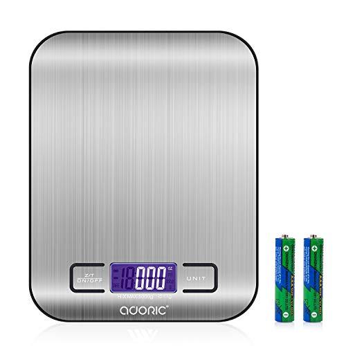 Balance Cuisine Electronique Balance de Précision - Balance numérique de cuisine de Haute Précision, 5kg/1g, Acier Inoxydable Tactile Sensible Écran LCD Rétroéclairé Auto-arrêt