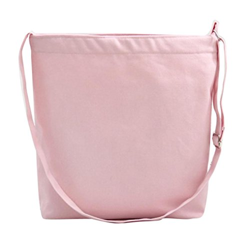 Koly_Fashion Girls Canvas borsa di acquisto Tote Shopper Bag Crossbody (Rosa)