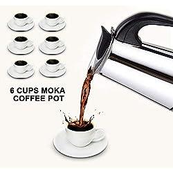 Cafetera Café Espresso Italiano Mocha - Mejor Cafetera Acero Inoxidable Pulido con Filtro Permanente y Asa Resistente al Calor - Perfecta para Uso Doméstico y en la Oficina