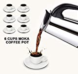 6-Cup Stovetop Espresso Maker Italian Moka Coffee Pot by Kurtzy - Best Polished Stainless Steel Coffee Percolator with Permanent Filter and Heat Resistant Handle - Perfect for Home and Office Use