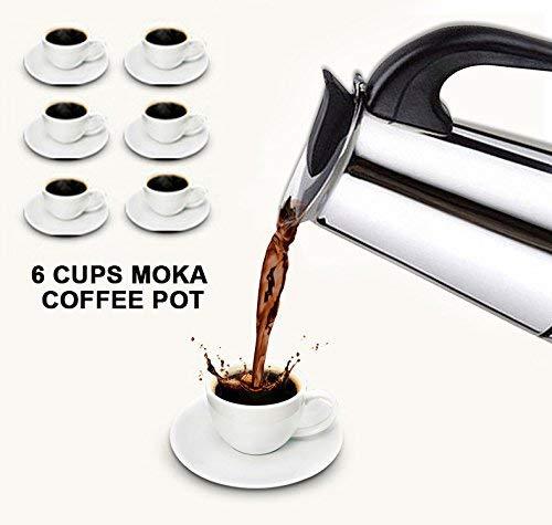 Caffettiera Espresso Italiano Fornello Acciaio Inox - Migliore Moka in Acciaio Inossidabile Lucidato con Filtro Permanente e Manico Resistente al Calore- Perfetta Per Casa e Ufficio