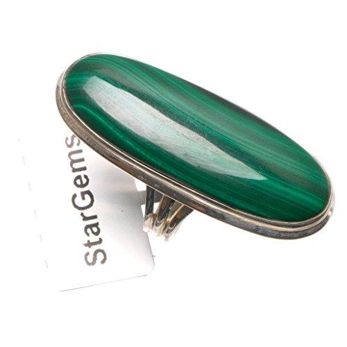 stargems (TM) natürliches Malachit handgefertigt Einzigartig 925Sterling Silber Ring, UK Größe N 1/2
