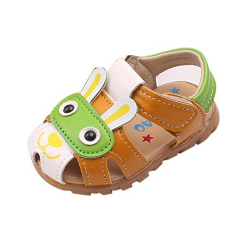Uomogo® scarpine neonato sandali dei capretti del prewalk del led illuminano le scarpe da sandalo della spiaggia verde blu dimensione 0-6 anni (età: 18-24 m, verde)