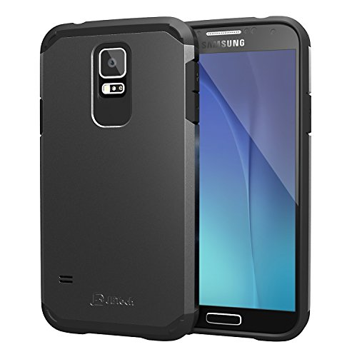 JETech Super Protection Samsung Galaxy S5 Case Coque Housse Etui Ultra Slim Fit pour Galaxy S5/Galaxy SV/Galaxy S V (2-Couche Noir) - 3010