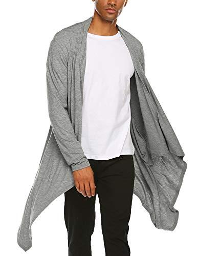 Unibelle Herren Strickjacke Cardigan Einfarbig Jacke Baumwolle Mantel Herbst Freizeitjacken Grau XXL -