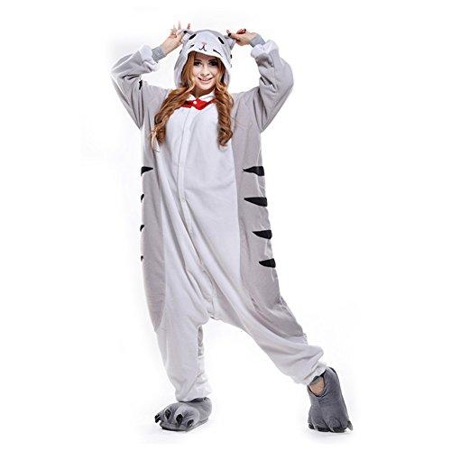 LPATTERN Unisex-Erwachsene Cosplay Pyjamas Onesie  Tier Kostüm Schlafanzug Jumpsuit für Halloween Karneval, Graue Katze, Medium (Korpergröße - Graue Katze Kostüm