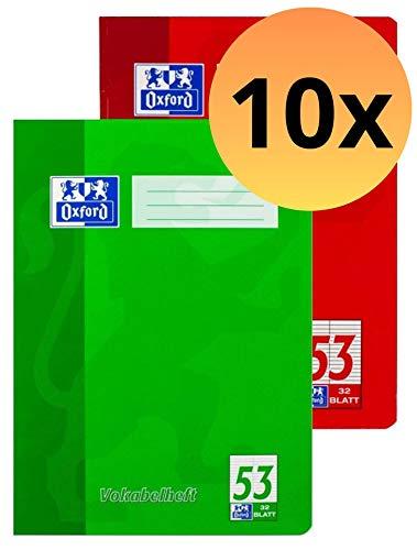 Oxford 100050336 Vokabelheft Schule 10er Pack im Format A4 mit 2 Spalten 32 Blatt sortiert rot und grün