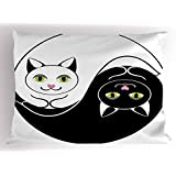 Lunarable Ying Yang Pillow Sham, Black and White Cuddling Cats in Asian Yin Yang Form Harmony and Balance Kitten, Decorative Standard Queen Size Printed Pillowcase, 30 X 20 Inches, Black White