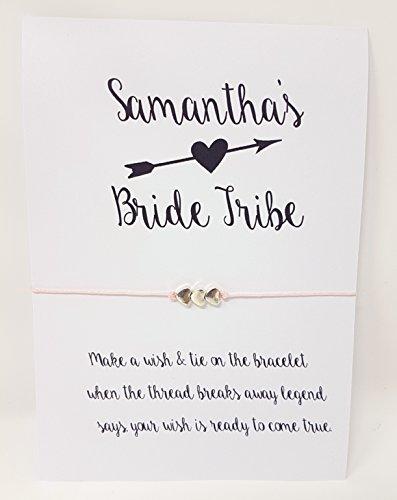 Personalisierte Braut Tribe Hochzeit WISH Armband Freundschaft Hen Party für-Pfeil D3 (Pfeil-freundschaft-armband)