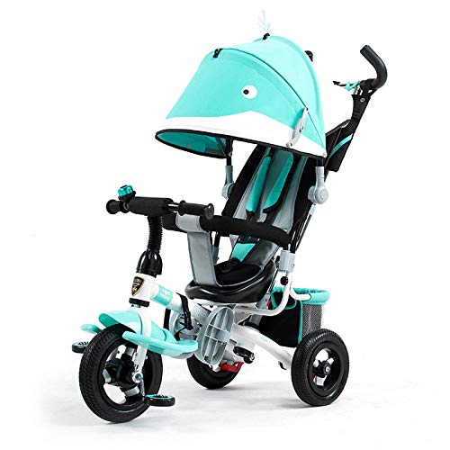 QXMEI 3 In 1 Kids' Trikes 3-Point Safety Belt 10 Months To 5 Years Kids Tricycle Detachable And Adjustable Push Handle Folding Sun Canopy Child Trike Maximum Weight 25 Kg,Blue