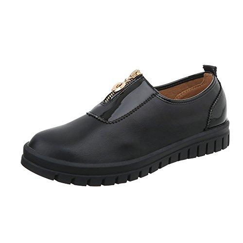 Ital-Design Chaussures Femme Baskets Mode Plat Sneakers Espadrilles Low noir J5A
