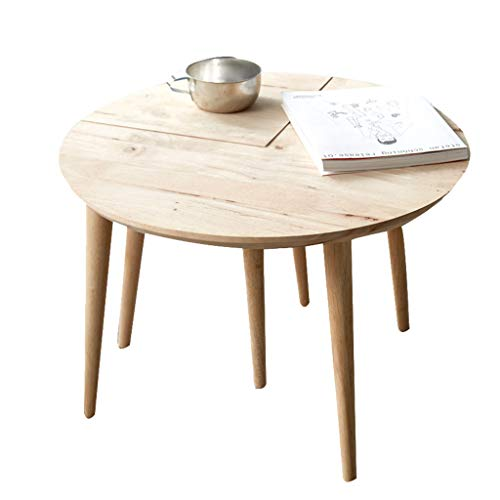 Tables basses en Bois Massif canapé Table d'ordinateur Table Ronde Table de Salon Table d'appoint Ronde (Color : Beige, Size : 59 * 59 * 47cm)