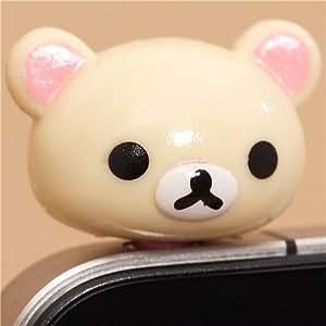 Rilakkuma white bear head mobile phone plug earphone jack