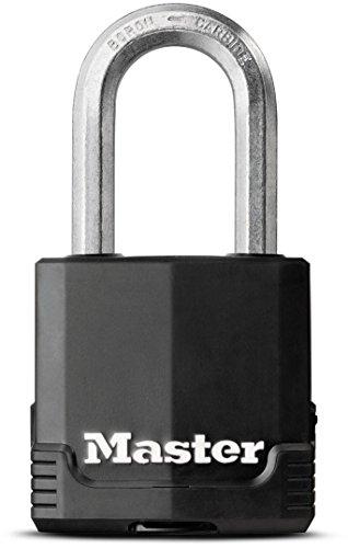 Masterlock Hochsicherheits-Vorhängeschloss EXCELL aus laminiertem Stahl für den Außenbereich mit langem Bügel und Schlüssel, hohe Korrosionsbeständigkeit
