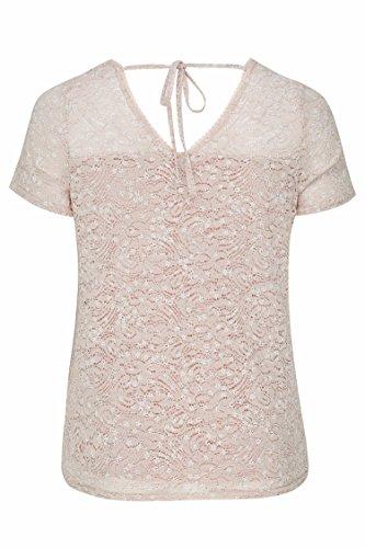 Paprika Damen große Größen T-Shirt aus einem blumig bedruckten Spitzengewebe Rosa