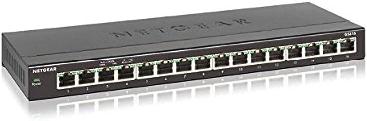Netgear GS316-100PES Switch a 16 Porte Gigabit, non Schermate, Grigio