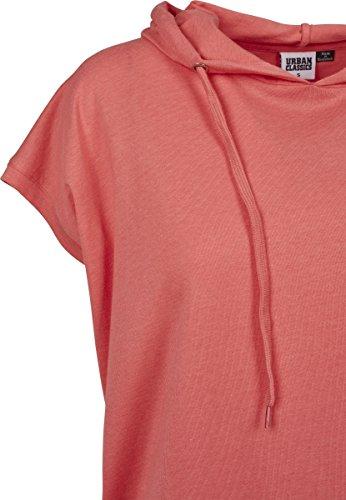 Urban Classics Damen T-Shirt Ladies Sleeveless Jersey Hoody Rosa (Coral 00092)