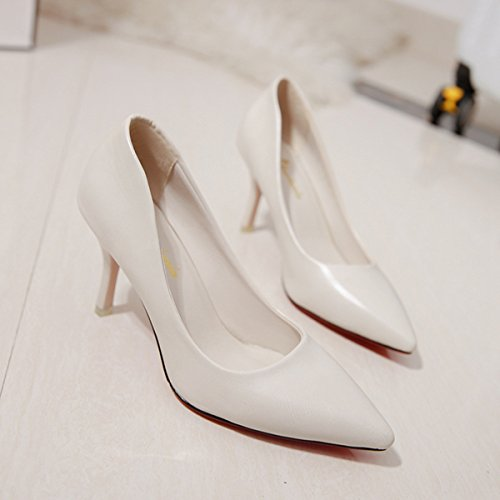Damen Pumps Spitz Zehen Slip Stilettos Arbeitschuhe Britische Stil Einfache OL Büro Schuhe Beige
