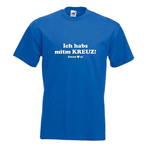 KIWISTAR - Ich hab Kreuz - Jesus love u T-Shirt in 15 verschiedenen Farben - Herren Funshirt bedruckt Design Sprüche Spruch Motive Oberteil Baumwolle Print Größe S M L XL XXL Royal