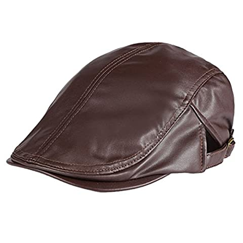 Panegy Bérets Casquettes Loisirs Hommes Femmes Cuir PU Classique Rétro Simple Réglable Bonnet Vintage Chapeau Voyage - Marron