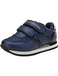 Tommy Hilfiger T1A4-30011-0374 Azul Eco Cuero Metalizado Niño Entrenadores  Zapatos ae711ea7032eb