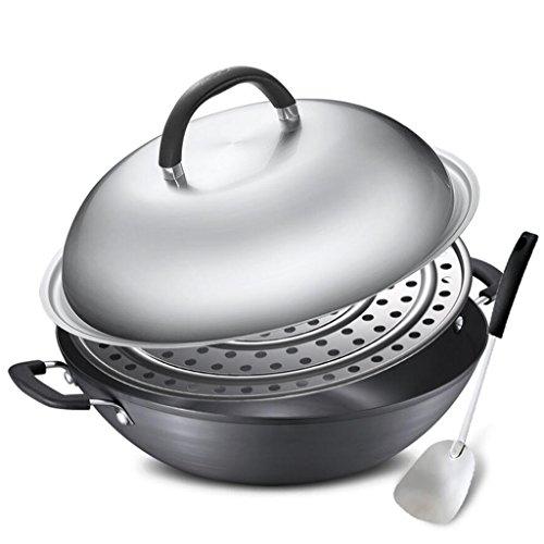 Rollsnownow Binaural Steam Wok Wok Antihaft-Pfanne mit Edelstahldeckel Durchmesser 36cm Dunkelgrau (Wärme Rost Bedeckt)