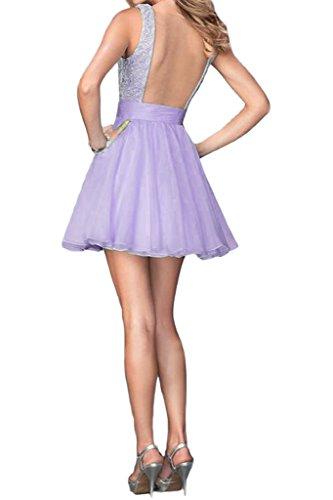 ivyd ressing Donna Sweetheart Rueckenfrei A-line di Tuell & punta corta Fest Abito Prom abito da sera Lilla