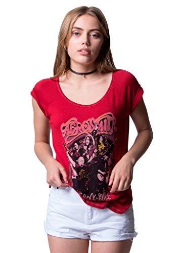 Bossa Nova Aerosmith Let Rock Rule Women's Red T-Shirt (X-Large) (T-shirt Aerosmith Damen)