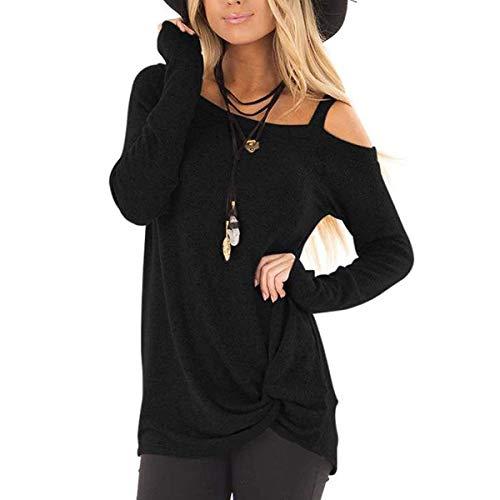 Einfarbiges T-Shirt mit Rundhalsausschnitt für Damen mit V-AusschnittGeknotetes Joker Langarm Schulter T-Shirt Schwarz 4XL