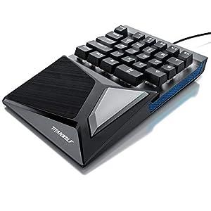 CSL-Computer Titanwolf – mechanische Tastatur Keypad 28 Tasten – Einhandtastatur – Mechanical Keyboard mit Multimedia-Keys – One Handed Gaming Keypad – ergonomische Handballenauflage – Anti Ghosting