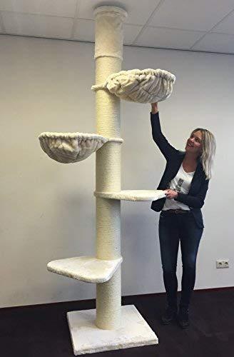 RHRQuality Kratzbaum Große Katze Stabil XXL Maine Coon Tower Creme Deckenhöhe 245-265cm mit 20cmØ Stämme. Katzenkratzbaum Speziell für Schwere Katzen. Deckenhoch