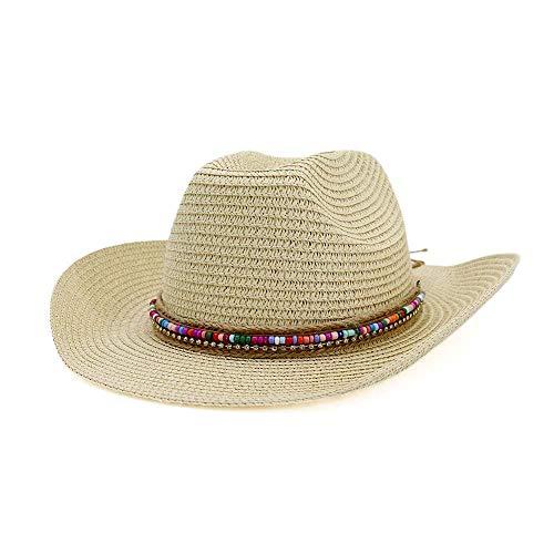 CXHMY Hut Sonnenhut Stroh Sommer Cowboyhut Damen Herren Sonnenhut Damen Outdoor Strandhut