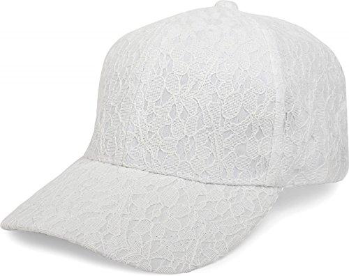 styleBREAKER 6-Panel Cap mit All Over Spitze, Baseball Cap, verstellbar, Damen 04023052, Farbe:Weiß (Verziert Denim Floral)