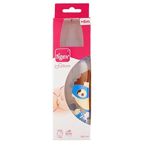 Tigex Intuition - Biberón boca ancha segunda edad, de silicona, modelo: Niño y niña, 360 ml, para 6-18 meses