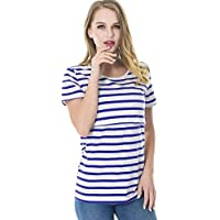 Gusspower Raya Blusas para Mujeres Embarazadas, Premama Camisa de Manga Corta para Mujer Casual Camiseta Mujer Ropa de Tops Mujer Verano