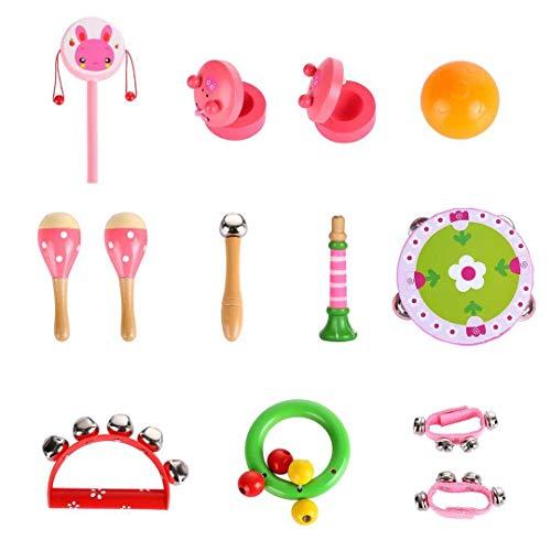 14pcs Musikinstrumente für Kinder Spielzeug aus Holz Musik Instrumente Kinder Lernspiel Lernen Musik Spiel Beste Geschenk für die Mädchen der Jungen (14pcs Musikinstrumente)