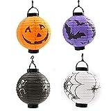 BJ-SHOP Linterna de Halloween,Luz de la Calabaza Linternas LED de Emergencia 4 Pack Linternas de Lámpara de Esqueleto de Murciélago Araña Calabaza