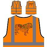 Englisch Bulldogge Bunten Boho Stil 1 Personalisierte High Visibility Orange Sicherheitsjacke Weste s838vo