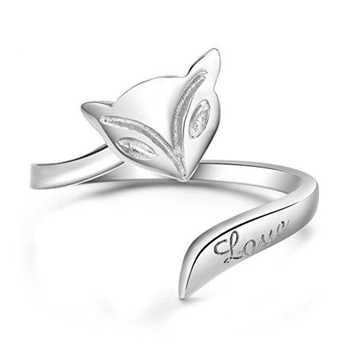 Westeng Silberring, verstellbare Größe, Schlangenform, offener Ring, Damenring, Schmuck und Accessoires A Fuchs