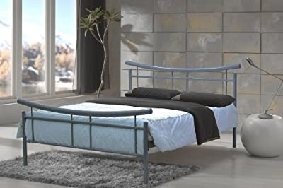 4ft6 Double Metal Bed Silver Frame New Model Frisco Bed