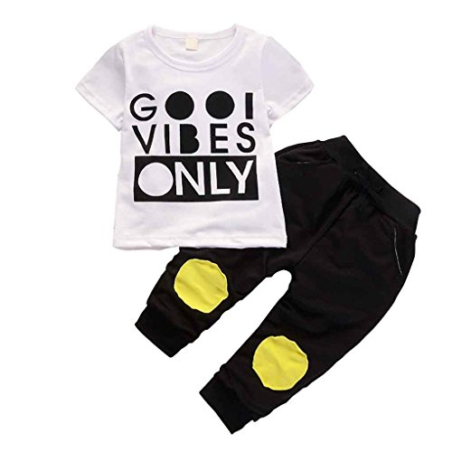 Mengonee Lettre garçon Top Pantalon Patch bébé en coton à manches courtes T-shirts Vêtements d'été Ensemble Chemise d'été