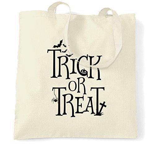tasche Trick or Treat bedruckt Zitat Design niedlichen Umweltfreundlich wiederverwendbar Natural Handtasche für Damen (Machen Trick Oder Treat Taschen)