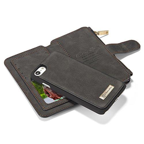 tinxi® 2 in 1 Kunstleder Schutzhülle für iphone 7 plus/ 7+ Multifunktions-Tasche Wallet Kartenfächer Rückschale Hülle Etui Case Cover in schwarz schwarz