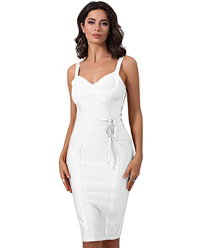 Whoinshop Damen Ärmellos Bodycon Kleid Ebene Figurbetontes Bandage Festliche Partykleider (S, Weiß)