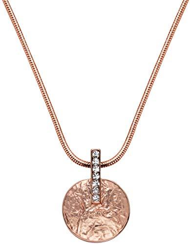 Perlkönig Kette Halskette | Damen Frauen | Rosegold Farben | Kreis förmige Münze | Glitzer Steine | Nickelfrei