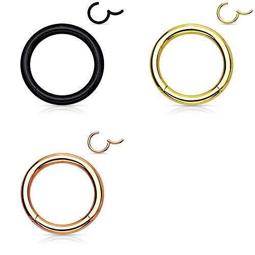 Trend Agent Segment CLICKER Piercing 3er Set SEGMENTRING für Septum, Tragus, Nase, Ohr, LIPPE, Helix - Edelstahl Klicker-Ring Klapp-Verschluß | 1.0 x 8 mm | Gold | Rosé | Schwarz |