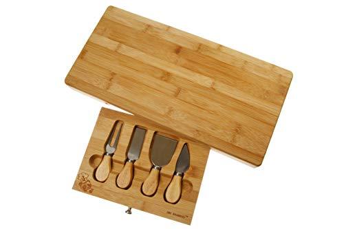 # 1 Extra große Bambus-Käse-Platte mit integriertem Spezial-Messer / Besteck Werkzeug-Fach. Hergestellt aus 100% natürlichem Premium Moso Bambus